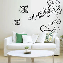 Butterfly Flower Vine Removable Wall Stickers Art Room Decal Home Room Decor US