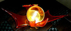 Authentic Fire Glow  Dragon Spirit  Crystal Ball with Stand. Large Clear Piece.