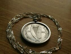1933 Ireland Harp And Bull Silver Shilling Pendant On A 28 925 Wavy Silver Chain