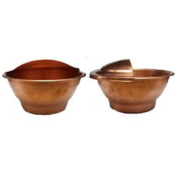 10 Deep Pair Gold Copper Foot Wash Massage Spa Therapy Pedicure Bowls + 2 Lids