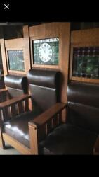 1910 Elks Lodge Main 3 seat bench and 3 matching Chairs Tiger Oak Stained Glass