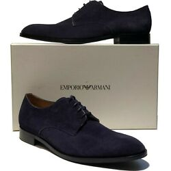 Emporio Armani Navy Blue Suede Leather Dress Men's Fashion Oxford 12 45 Casual