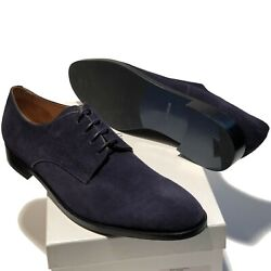 Emporio Armani Navy Blue Suede Pebbled Leather Dress Men's Fashion Oxford Casual