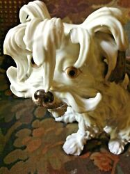 SALE FREE SHIPPING Antique French Edme Samson Porcelain Bolognese Terrier Dog