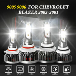 4x 9006+9005 LED Headlight Kit Bulb Cool White For Chevrolet Blazer 2003-2001