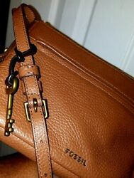 Preowned brown fossil leather crossbody handbags $55.00
