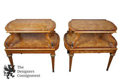 2 Henredon French Empire Olive Ashwood Burled Side Tables 2 Tier Neoclassical