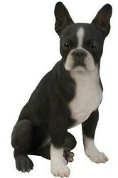 Boston Terrier Sitting Dog Cute- Life Like Figurine Statue Home  Garden New