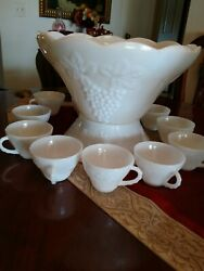 13 Pcs Vintage Anchor Hocking Milk Glass Punch Bowl Base And Cups Embossed Grape