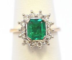 3120-14k Yellow Gold Diamond And Colombian Emerald Ring 5.4grams Size 5.25