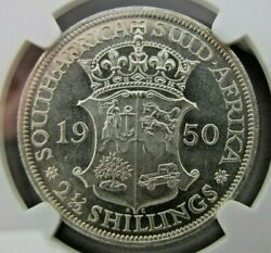 South Africa Two And Half Shillings 1950 Ngc Ms 63. Rare In Ms