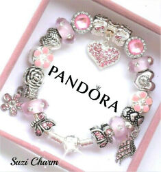 Authentic Pandora Silver Charm Bracelet With Pink Love European Charms New