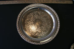 Wm Rogers And Son Silver Plate Spring Flower Pattern 12in Serving Tray 2070