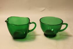 Vintage Forest Green Depression Glass Creamer And Teacup With Handles
