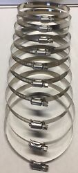 4- 5 Sae 72 100 Stainless Steel Worm Gear Hose Clamps Marine Grade - 10 Pcs