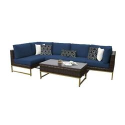 Amalfi 6 Piece Wicker Patio Furniture Set 06q In Gold And Navy