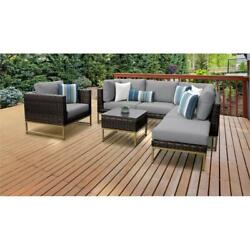 Amalfi 7 Piece Wicker Patio Furniture Set 07f In Gold And Gray