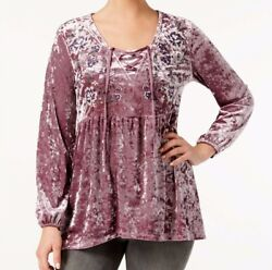 NEW Style amp; Co Embroidered Crushed Velvet Top in Mauve Petite amp; Reg Sizes $59 $10.88