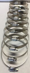 3 - 4 Sae 56 100 Stainless Steel Worm Gear Hose Clamps Marine Grade - 10 Pcs