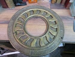 Antique Heat Vent Round Cast Iron Ornate Ceiling Grate Register Early 1900and039s 16