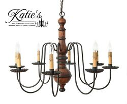 Katieand039s Hamilton Primitive Wood Chandelier - Assorted Colors - Country Colonial