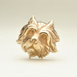 Antique Gold Gilt Terrier Dog Hat Pin - 9 1/8 Length Circa 1800and039s