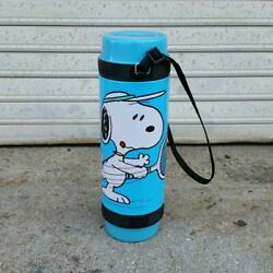 Snoopy Peanuts Water Bottle Thermos Blue1970and039s Vintage Rare From Japan New