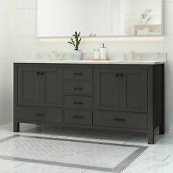 Laranne Contemporary 72 Wood Double Sink Bathroom Vanity With Marble Counter To