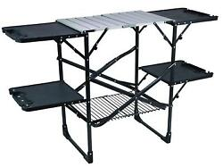 Slim Fold Camp Kitchen Portable Folding Cook Station Compact Outdoor Table Grill