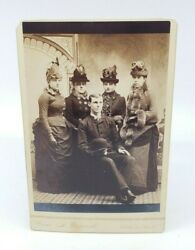 Antique Victorian Photograph Ladies Hats And Dresses Wealthy Group Picture