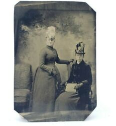 Antique Victorian Tintype Photograph Painted Blush Fancy Women Hats And Dresses