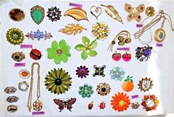 Vtg Costume Jewelry Lot 39 Brooches/pins + 2 Necklaces