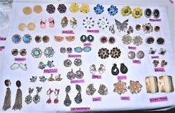 Vtg High End Costume Jewelry Lot 2 Brooches + 42 Earring Pairs