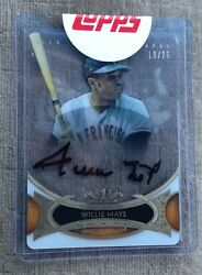 2014 Topps Tier One 1 Willie Mays Bronze Black Ink On Card Auto 10/25 Nice