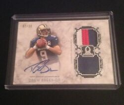 2013 Topps Museum Collection Football Drew Brees Jersey 3 Color Patch Auto 7/30