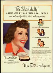 1942 Vintage Ad For Max Factor Hollywood Makeup With Claudette Colbert -050212