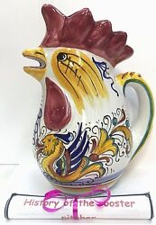 Deruta Pottery-1/2liter Rooster Pitcher Raffaellesco.made/painted By Hand-italy