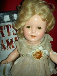Ideal 13 Compo. Shirley Temple Doll With Orig. Tagged Clothes And Wig, Clear Eyes