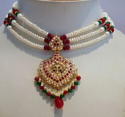 RUBY EMERALD PEARLS 22K GOLD SET NECKLACE PENDANT WITH EARRING PAIR PARTY