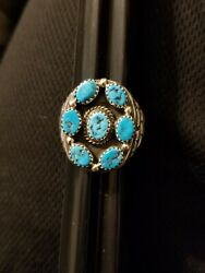 Beautiful Tom Ahasteen Navajo Turquoise Sterling Ring Size 11 3/4 26.1 Grams
