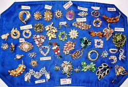 Vtg 48 Pc Costume Jewelry Lot 46 Brooches And 2 Earring Pairs Rhinestones