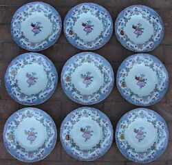 9 Antique Minton And Boyle Bb New Stone Ironstone A1106 Soup Bowls C. 1841 Awesome