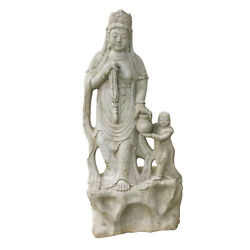 Chinese Carved White Marble Guanyin And Attendant