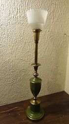 Vintage Lighting House Green Olive Brass Midcentury Retro Table Lamp Glass Shade