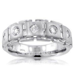1.75 Ct Tw Menand039s Princess Cut Diamond Wedding Band Ring In 18 Kt White Gold