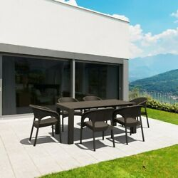 Compamia Panama 7 Piece Extendable Patio Dining Set In Brown