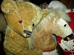 Wonderful Large Antique 24 Ideal Golden Mohair Straw-filled Jand039td. Teddy Bear