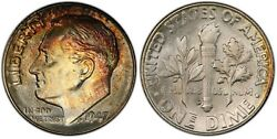 1947-d Pcgs Ms-67+fb Qa Roosevelt Dime Colored Toning Fresh Booming Luster Pq