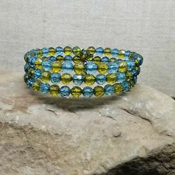 Vintage Teal Blue And Olive Green Faceted Lucite Bead Memory Wire Wrap Bracelet