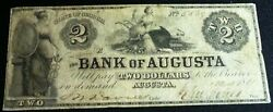 1861 2 Two Dollars The Bank Of Augusta State Of Georgia Obsolete Banknote